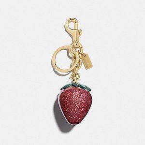 COACH Keychain Strawberry Pink Glitter Resin Bag